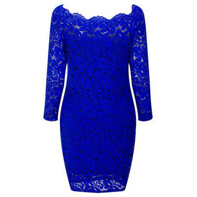 Women'S Wear One-Word-Collar Long Sleeve Wrapped Buttock lace Dress