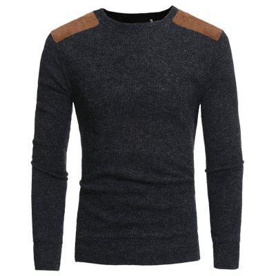 Suede Patch Design Men's Round Neck Casual Slim Knit Sweater W13