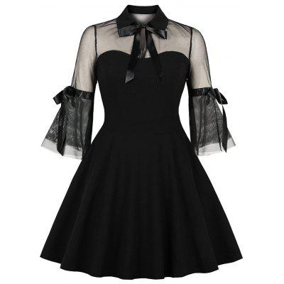 Lapel Net Yarn Splicing Bowknot and Pockets Black Dress