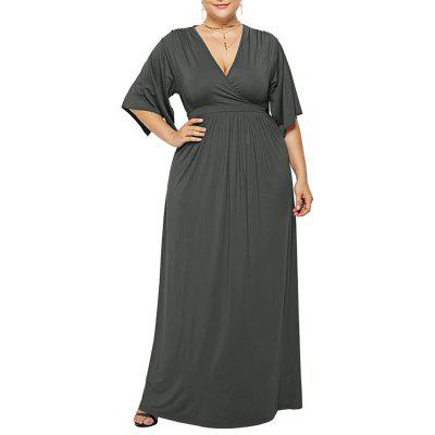 Women's Deep V Solid Color Plus Size Fat Pregnant Batwing Sleeve Maxi Dress