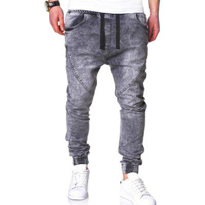 Classic Washed Elastic MenCasual Solid Color Loose Harem Jeans