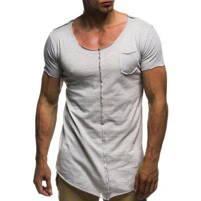 Men's Summer Casual Fashion Round Neck Pocket Slim Short-Sleeved T-Shirt