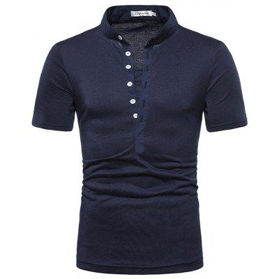 Men's  Summer Outfit Casual V-Neck Button Trim Short Sleeves