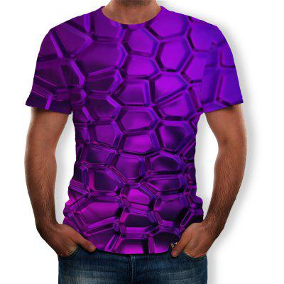 3D Summer Fashion Personality Shaped Plaid Print Men's Short-Sleeved T-shirt