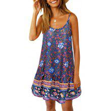 ef31acf6df4 Women's Sexy Strap Backless Floral Print Ruffle Side Beach Swimming Blouse  Dress