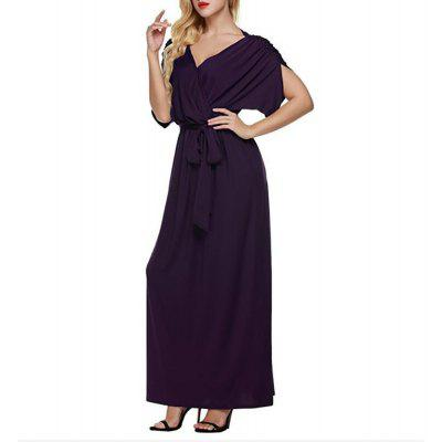 Pure V Collar Waist Belt Loose Swing Batwing Sleeve Maxi Dress