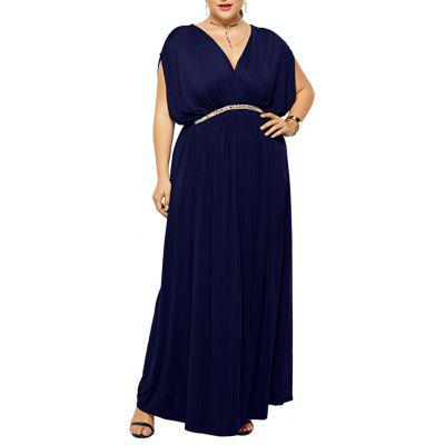 Pure Color Fashion Deep V Waist Evening Party Batwing Sleeve Maxi Dress