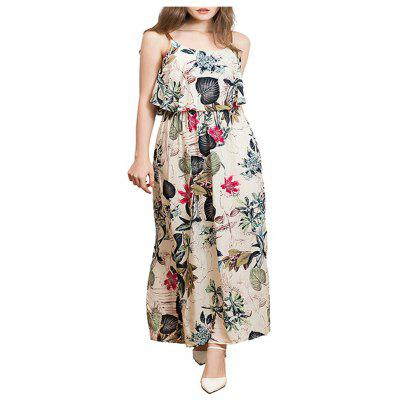 Lotus Leaf Edge Long Skirt Printed Spring and Summer Women's Dresses in 2019
