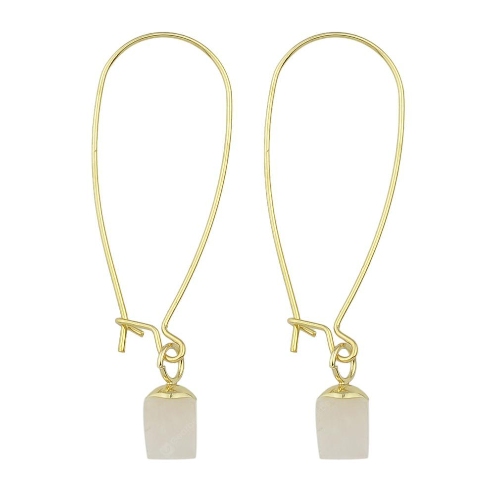 Fashionable White Square Jewel Pendant Earrings