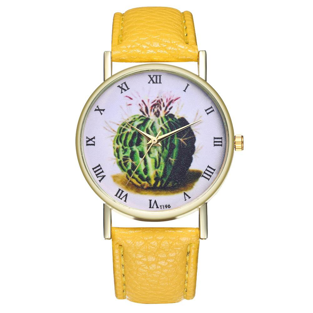 Casual Simple Cactus Print Illustration Quartz Belt Watch