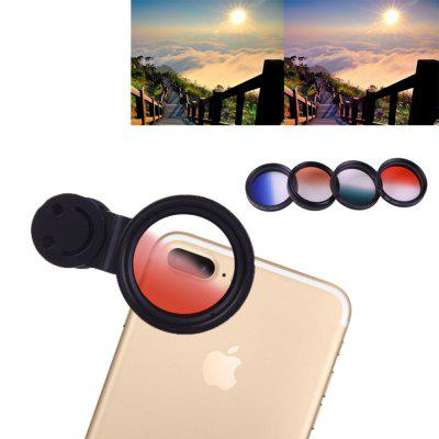 Mobile Phone Lens Universal Gradient Mirror Lens Kit Green Blue Orange Red with