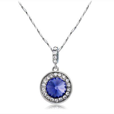 Silver Plated Disc with Zircon Inlaid Blue Crystal Pendant Necklace