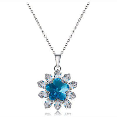 Silver Plated Zircon Flower Inlay Blue Crystal Pendant Necklace
