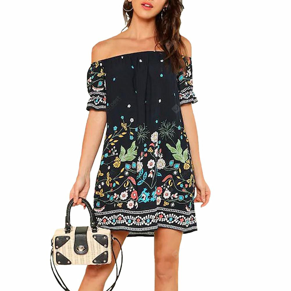 Women's Off the Shoulder Floral Print Beach Bohemia Short Sleeve Straight Dress
