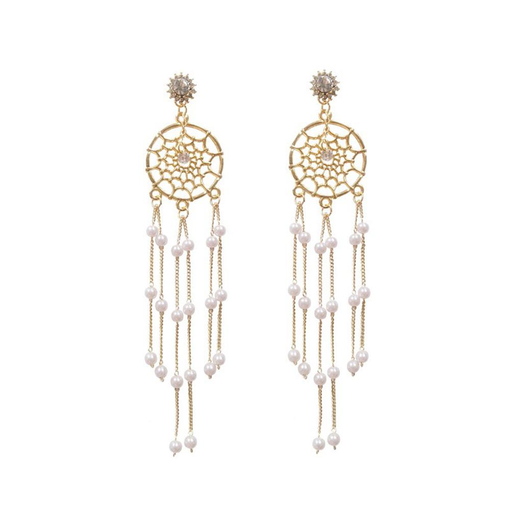 Round Long Fringed Pearl Earrings for Female Personality Earrings