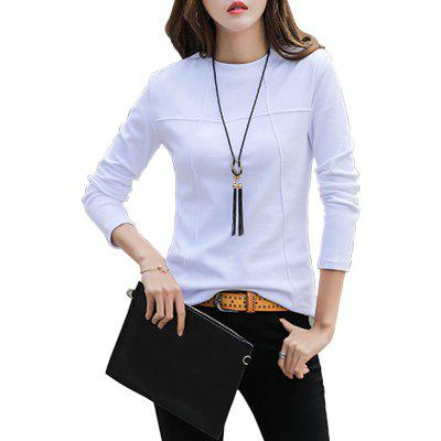 Solid Color Cotton Long Sleeve T-Shirt