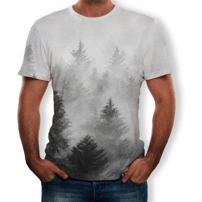 T-shirt manches courtes 3D Summer Fashion New Smoggy Deep Forest Printing pour hommes