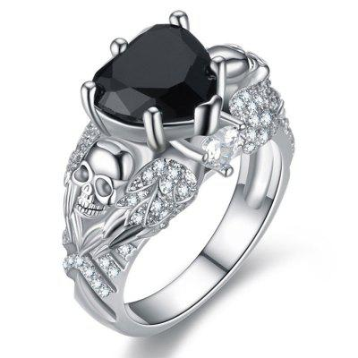 Punk Skull Crystal CZ Gothic Flower Rings for Women Gifts Wedding Jewelry