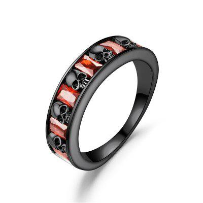 Black Skull Red Crystal Zircon Ring Women'S Wedding Ring Punk Jewelry