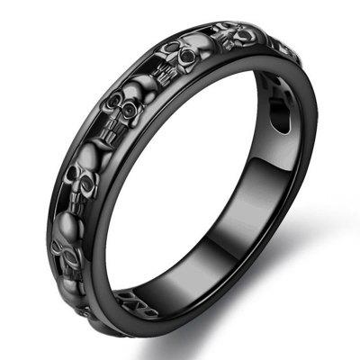 Black Skull Smooth Surface Ring Punk Jewelry
