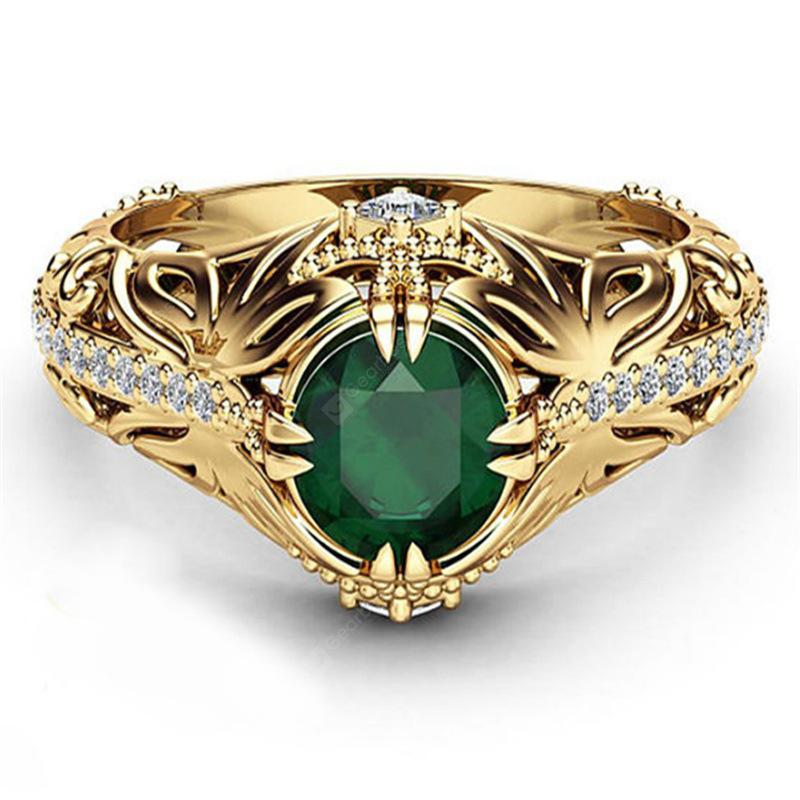Fashion Round Cut Emerald 14K Gold Filled Ring Gift Wedding Engagement Jewelry