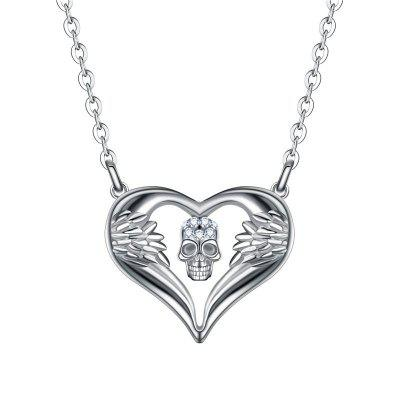Women Punk Skull Pendant Necklace Crystal Silver Angel Heart Necklaces Jewelry