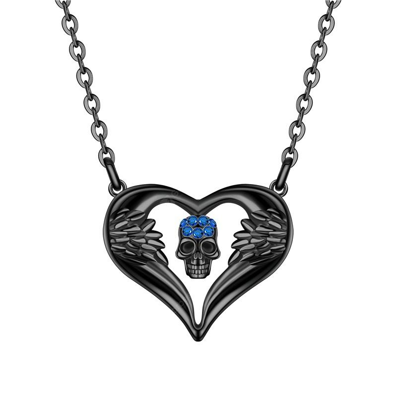 Women Punk Skull Pendant Necklace Crystal Black Gold Angel Heart Jewelry