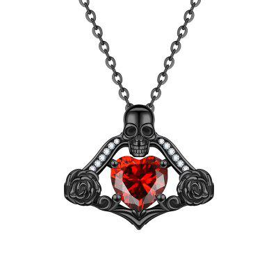 Fashion Skull Pendant Heart Crystal Zircon Rose Necklaces for Women'S Gifts