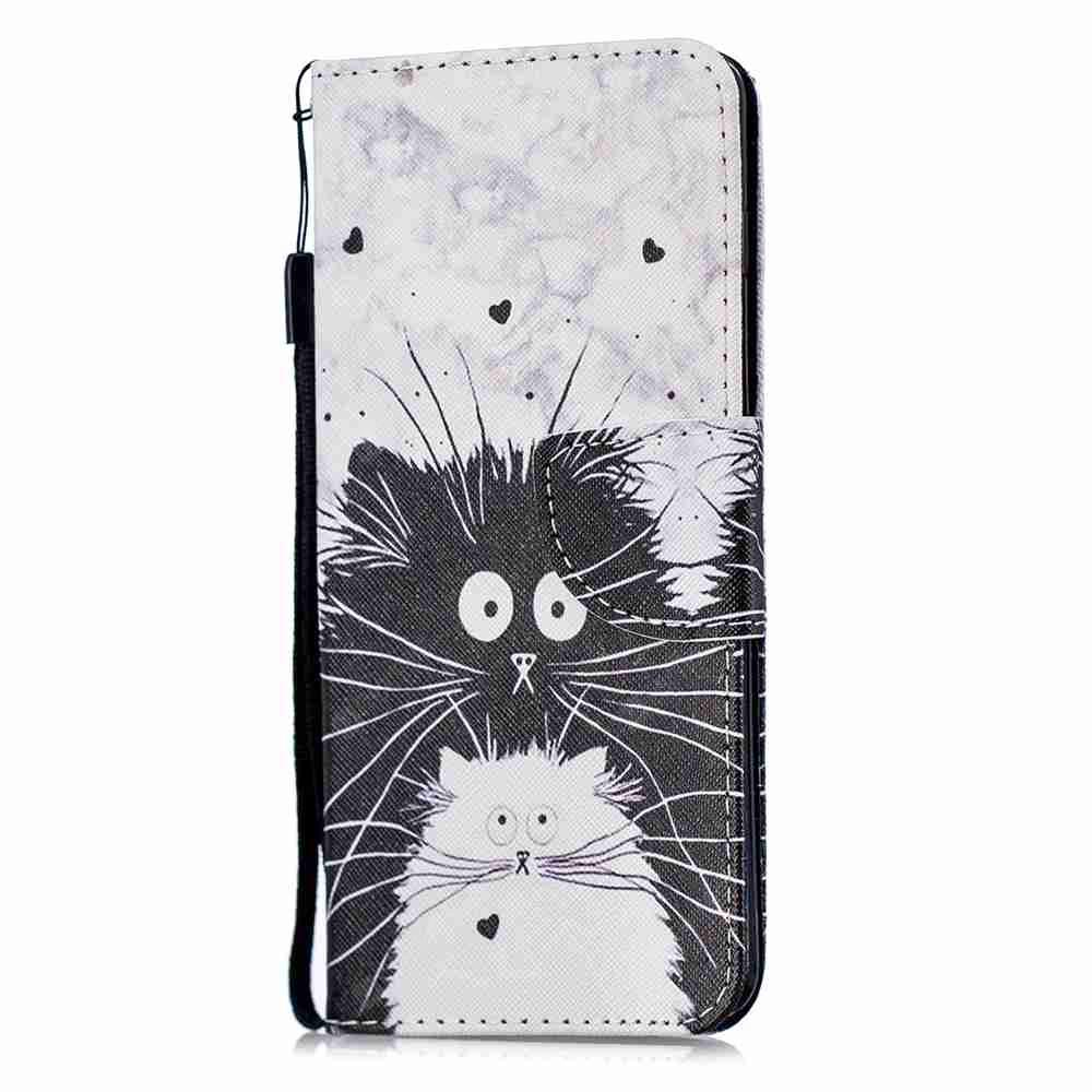 Black and White Cat Painting Pu Phone Case for Samsung Galaxy S10 Plus