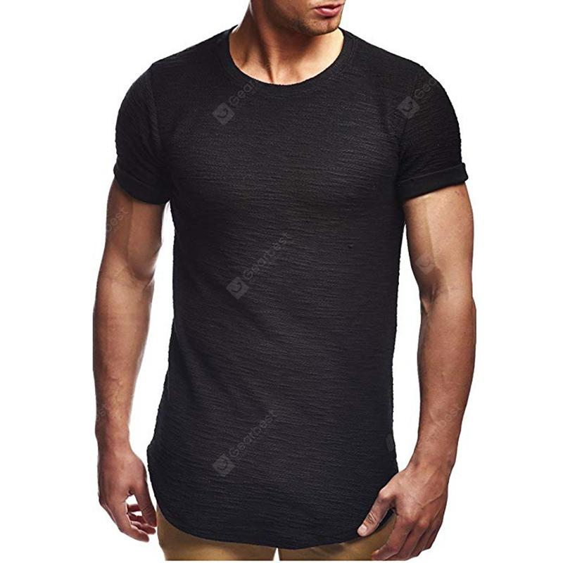Men's Solid Color Casual Irregular Short Sleeved T-Shirt