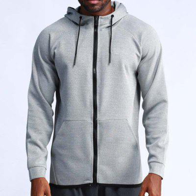 Man Outdoor Running Breathable Fast-Drying Fitness Hooded Sport Jacket T0327