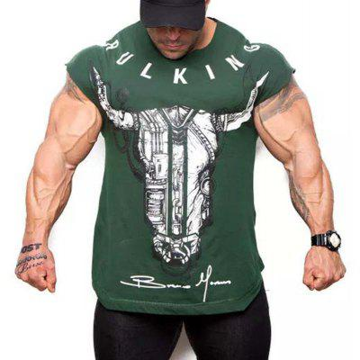 New Cotton Round Neck Fitness T-Shirt Male Training Short Sleeve