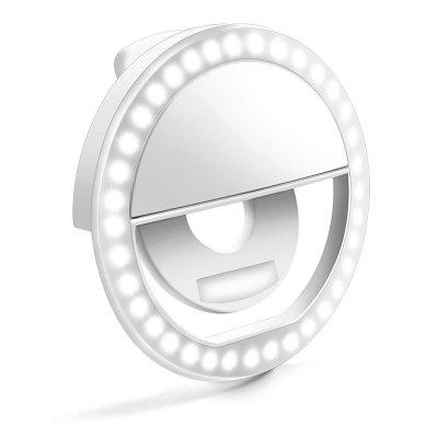 LED Ring Selfie Light Clip for Smart Phone Camera Round Shape - Rechargeable