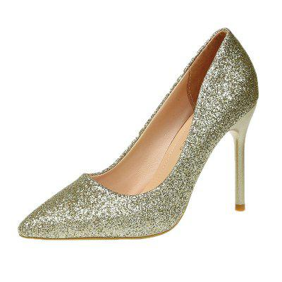 Silver Pointed High Heels with Sexy Sequins