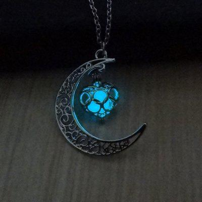 Hollow Moon Heart Choker Luminous Necklace Jewelry