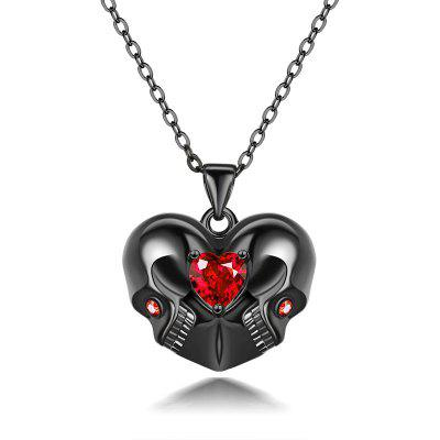 Punk Halloween Skull Red Heart Crystal Necklace Accessories Women Jewelry