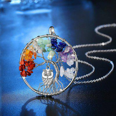 Personality Fashion Owl For Women Jewelry Rock Crystal Gravel Tree Of Life Inlay