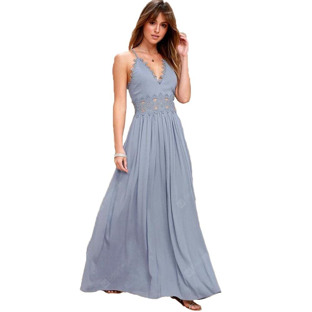 Women's Sexy Solid-Color Harness Long Dress