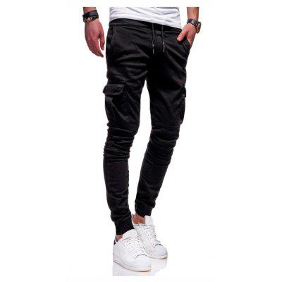 Three-Dimensional Patch Bag  Tight Elastic  Long Pants  Casual Pants K89