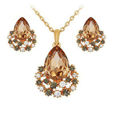 Jewelry Sets Rose Gold Crystal Fashion Necklace Earrings Wedding Bridal Gift
