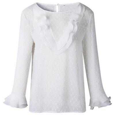 Women Casual Ruffles Lace Polka Dot O Neck Shirt Long Sleeve