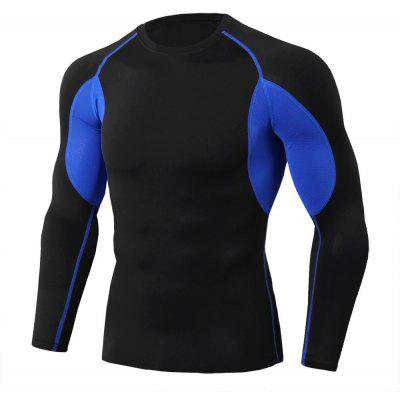 Tight Stretch Sports Fitness Training Round Neck Long Sleeve Men'S T - Shirt