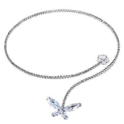 Silver Plated Zircon Necklace with Clear Crystal  Necklace
