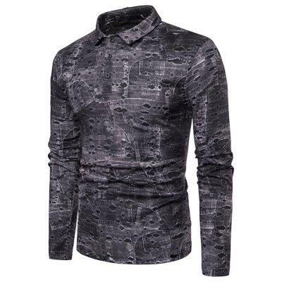 New Man Fashion Casual Hollow Out Printed Full Sleeve Slim T-Shirt 1261