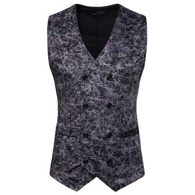 New Man Fashion Casual Print Leopard Double Breasted Blazer Vest 1258