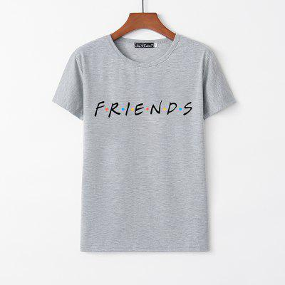 Fashion Girl FRIENDS Letter Pattern Printed Crew Neck Short Sleeve T-Shirt