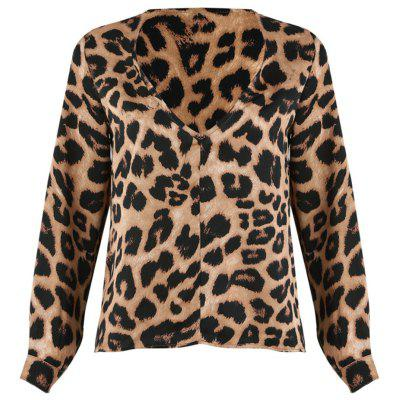 Women Leopard Print Loose Long Sleeve V-Neck Sexy Tops Blouses