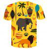 Yellow Eleph 3D Round Collar Print Men Women Casual Short Sleeve Graphic T-Shirt - MULTI-A