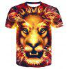 Red Head Lio 3D Round Collar Print Men Women Casual Short Sleeve Graphic T-Shirt - MULTI-A