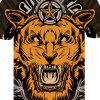 Mad Lion 3D Round Collar Print Men Women Casual Short Sleeve Graphic T-Shirt - MULTI-A